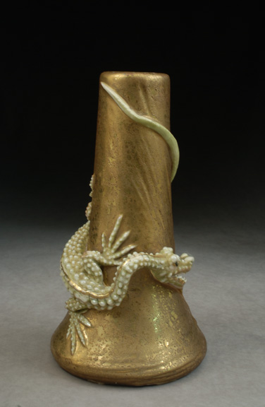 Silver Dragon on Gold Vase